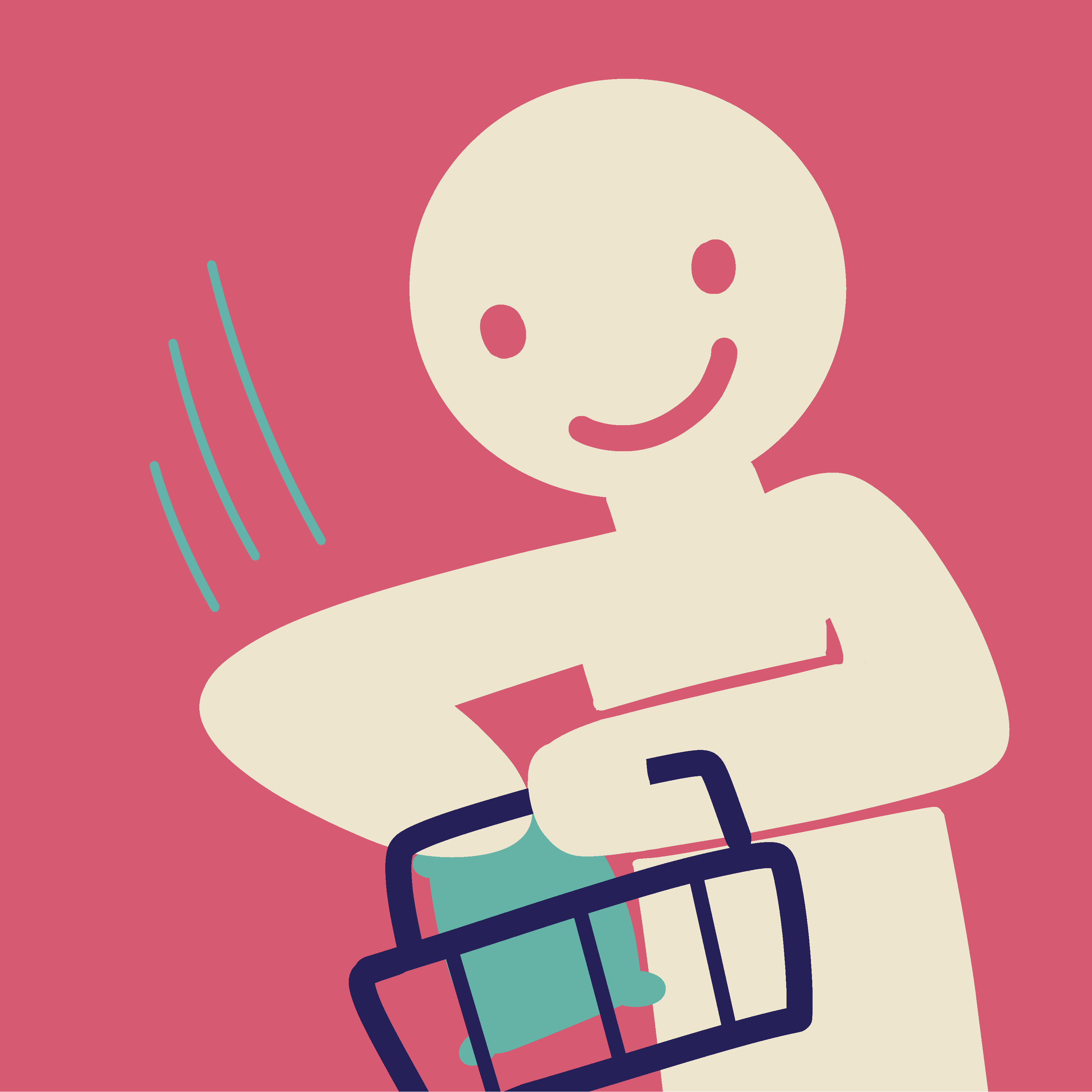 A stick figure adding the food packet to a shopping basket